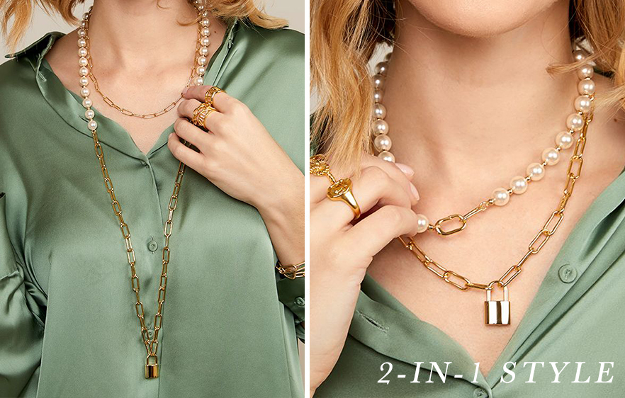 Pearl and Link Gold Lock Necklace