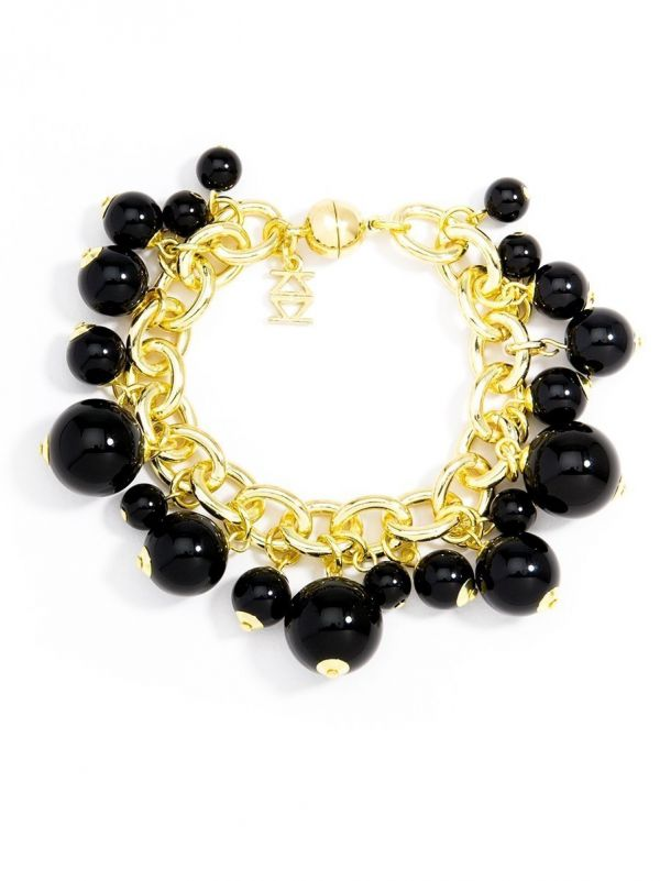 Loops and Pearls Bracelet - Black