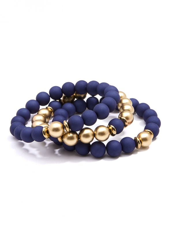 Matte and Metallic Stretch Beaded Bracelet - Navy