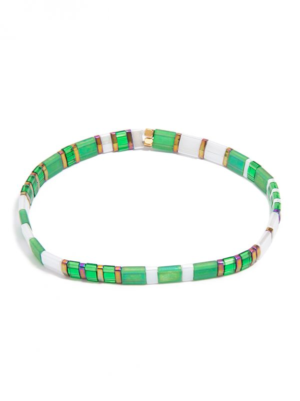 Striped Beaded Stretch Bracelet - grn