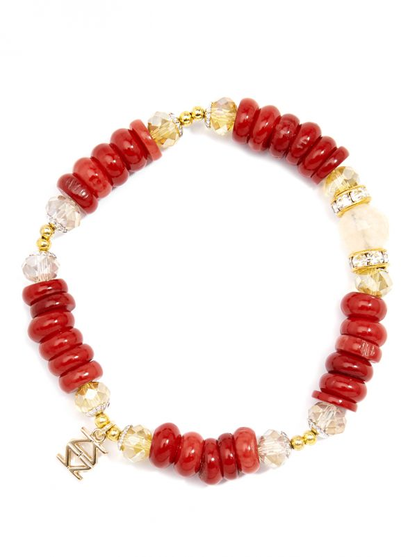 Resin and Crystal Beaded Stretch Bracelet