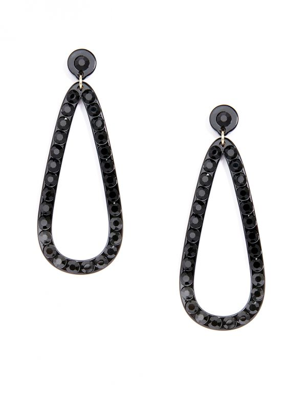 Crystal Embellished Resin Teardrop Earring - Black