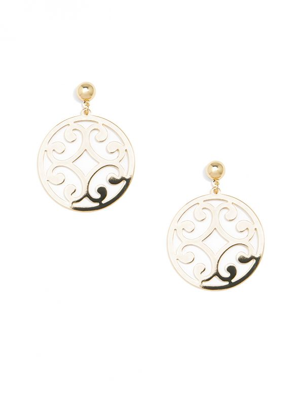 Metal Circle Scroll Drop Earring