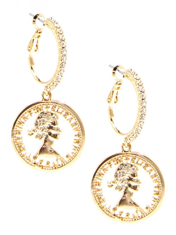 Crystal Hoop and Coin Drop Earring