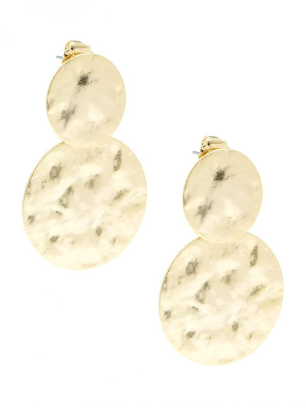 Hammered Medallions Drop Earring