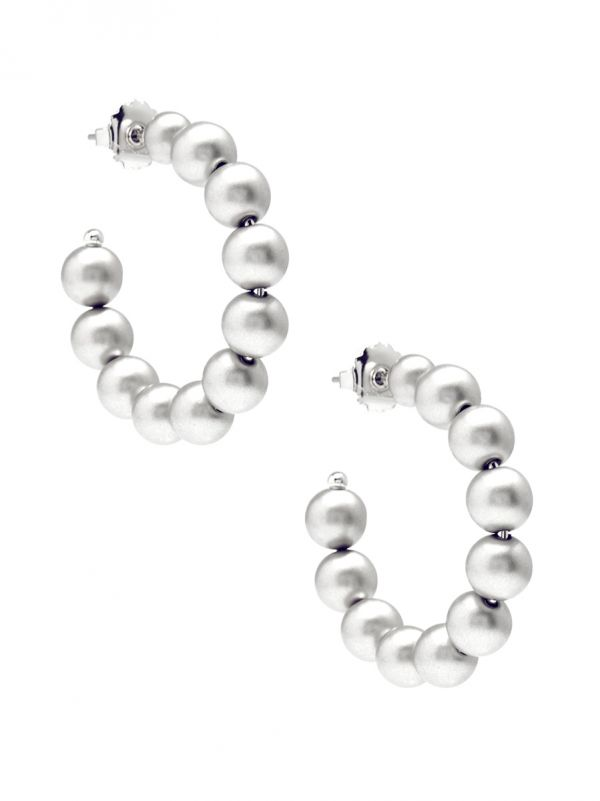Small Matte Metal Beaded Hoop Earring - ms