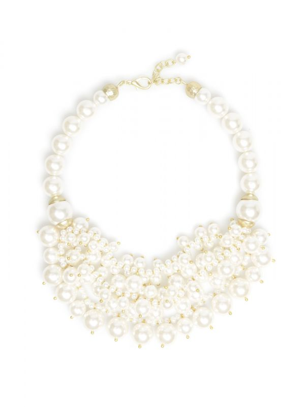 Multi Strand Cluster Pearl Necklace