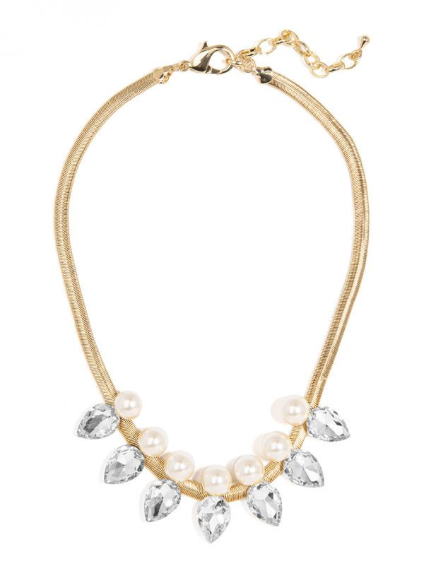 Pearl and Gemstone Spike Collar Necklace