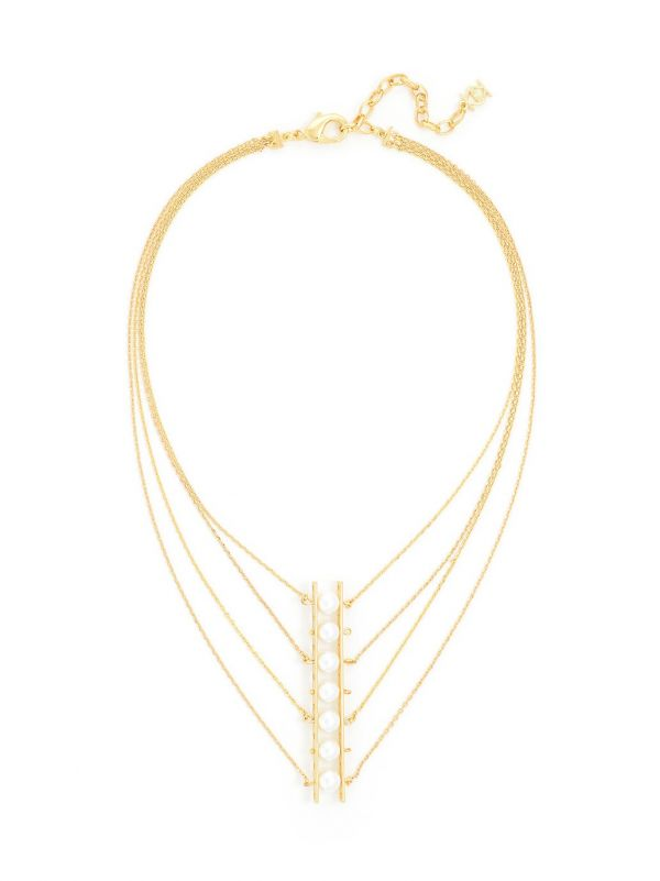Pearl Ladder Necklace  - color is Gold/White | ZENZII Wholesale