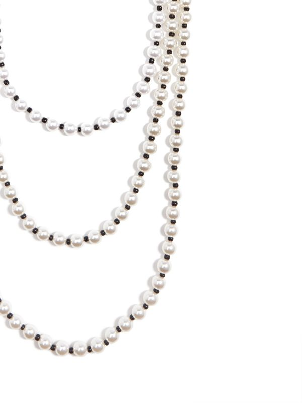Long Multi Strand Pearl Necklace - Pearl