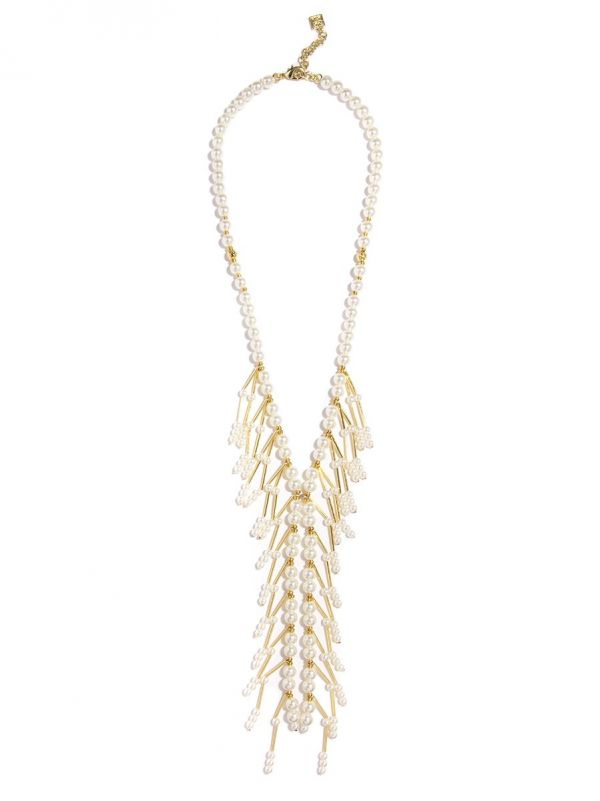 Pearl Y Long Necklace with Pear and Gold Bar Drop-PRL
