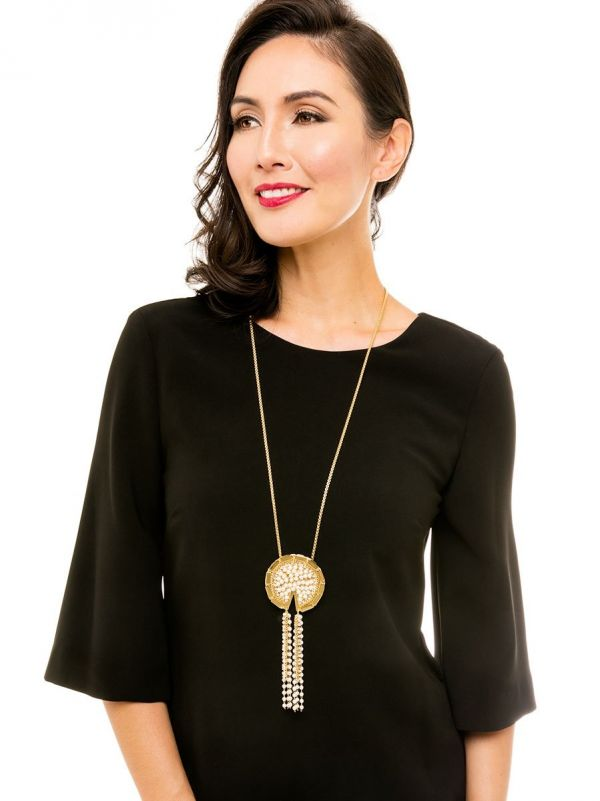 Piece of Pearl Tassel Necklace- gold/pearl