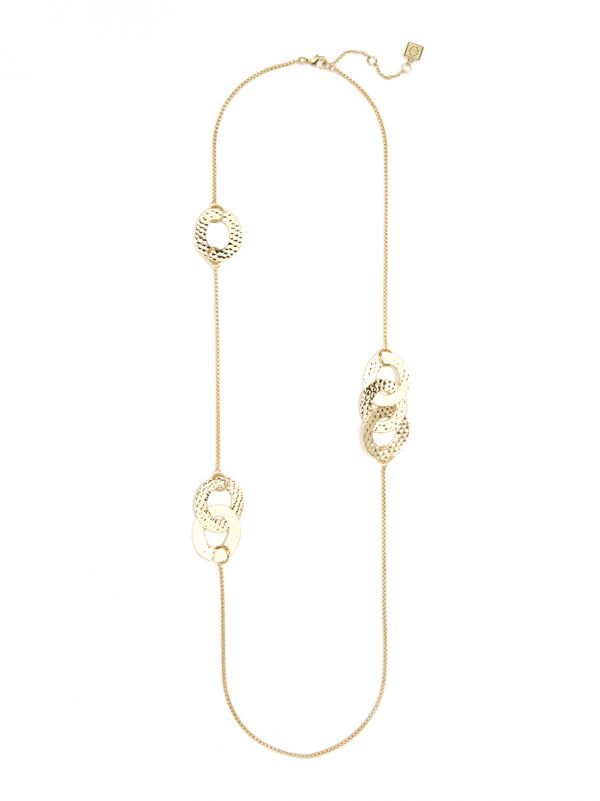 Long Necklace with Hammered Metal Links - Gold