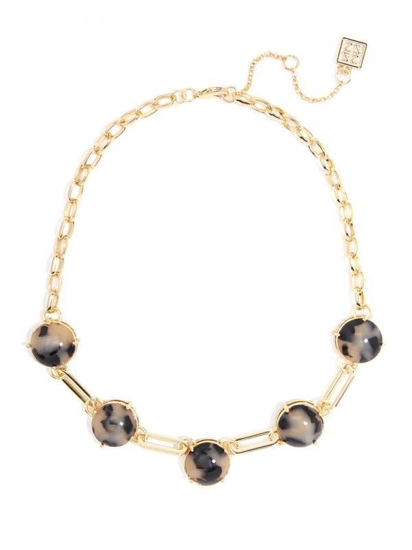 Bevel Set Tortoise Necklace with Oval Links N2363