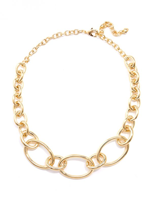 Oval Links Collar Necklace - gld