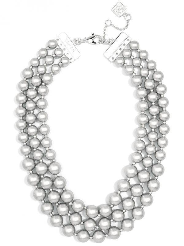 3 Strand Beaded Bib Necklace - ms