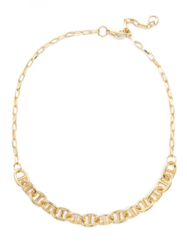 Mariner Chain Link Collar Necklace - gld
