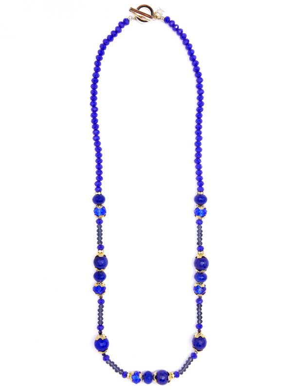 Cobalt Crystal Beaded Long Toggle Necklace