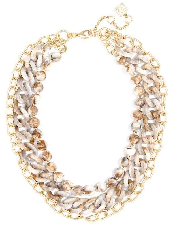 Marbled and Matte Gold Chain Collar Necklace