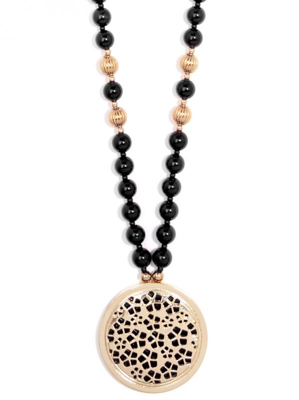 Beaded Necklace with Round Resin Pendant