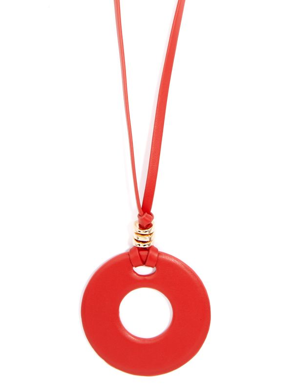 Faux Leather Round Pendant Necklace