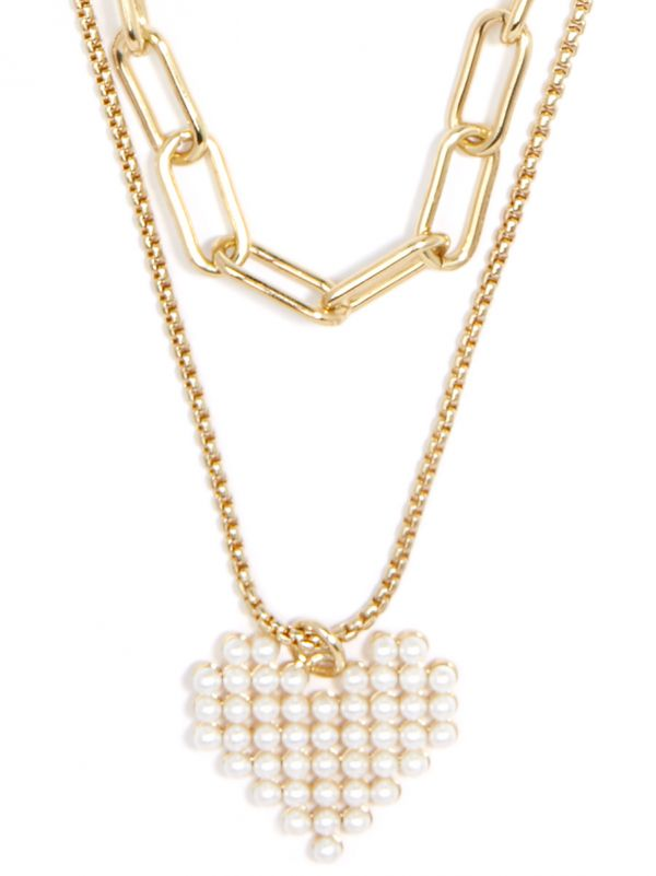 Layered Chain and Pearl Heart Pendant Necklace N2551