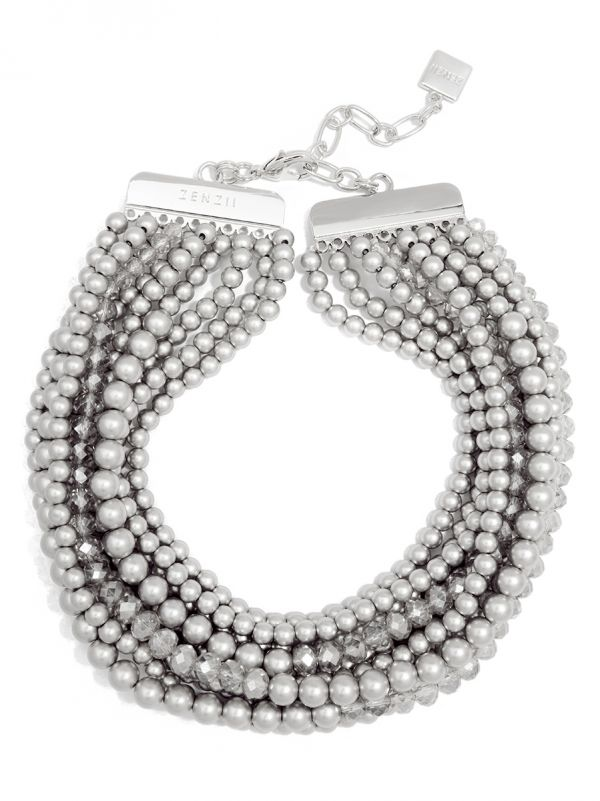 Metallic and Crystal Beaded Collar Necklace - ms
