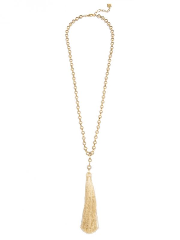 Metallic Matte Beaded Necklace With Tassel