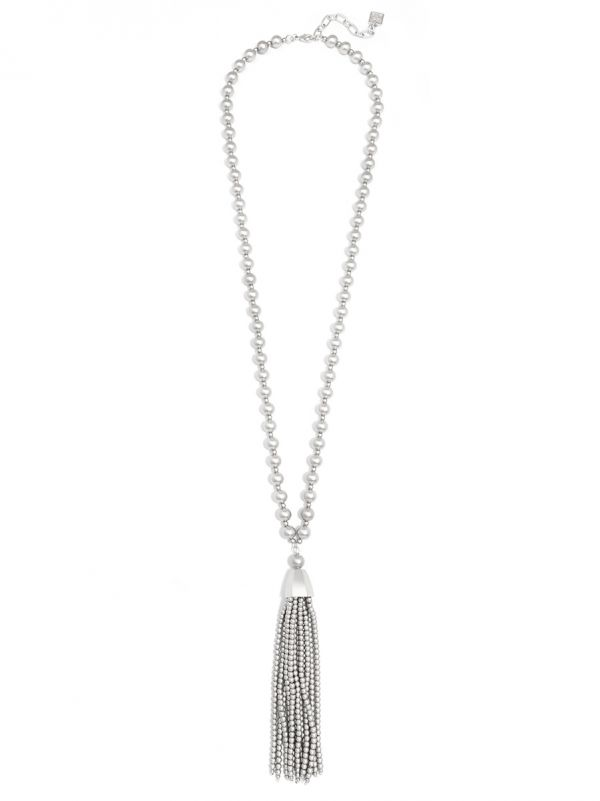 Matte Metal Beaded Necklace with Beaded Tassel - MS