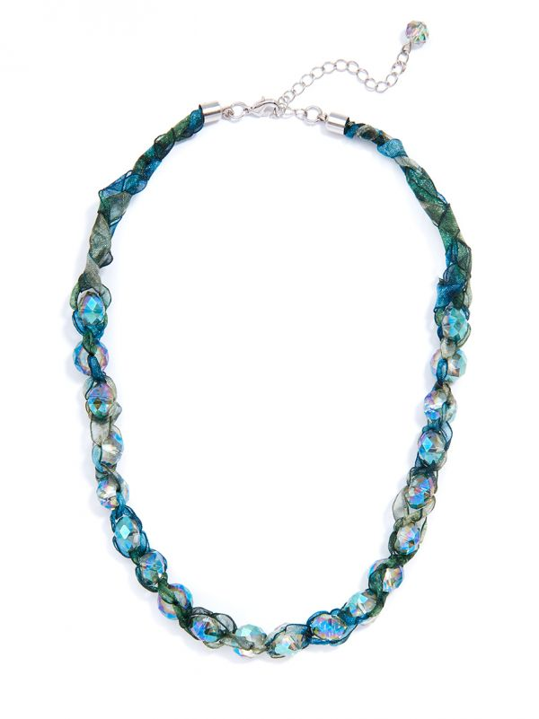 Ombre Ribbon and Crystal Necklace