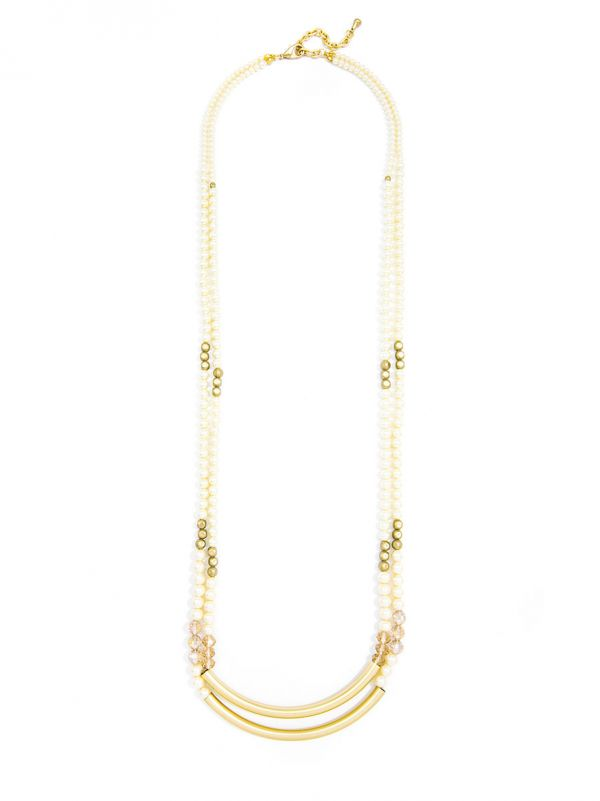 Layered Pearl and Crystal Long Necklace -Matte Gold/Pearl