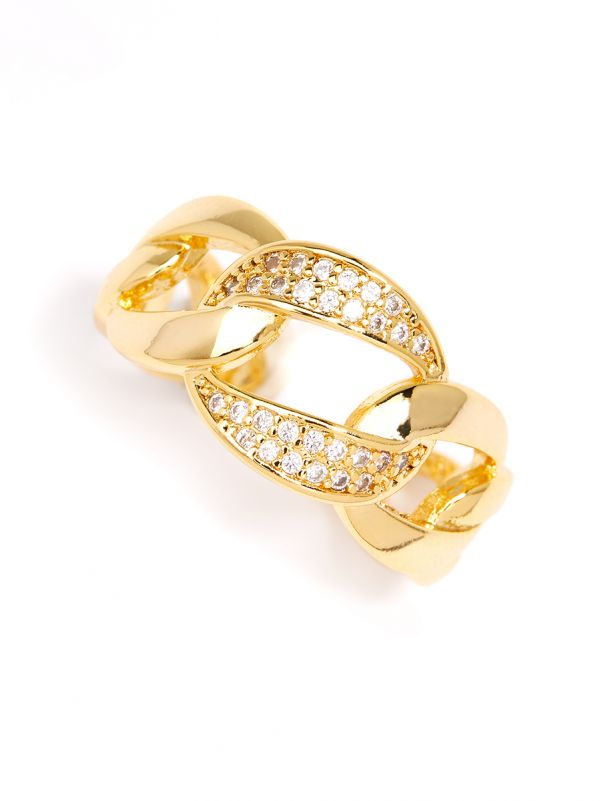 Curved Oval Links Crystal Ring