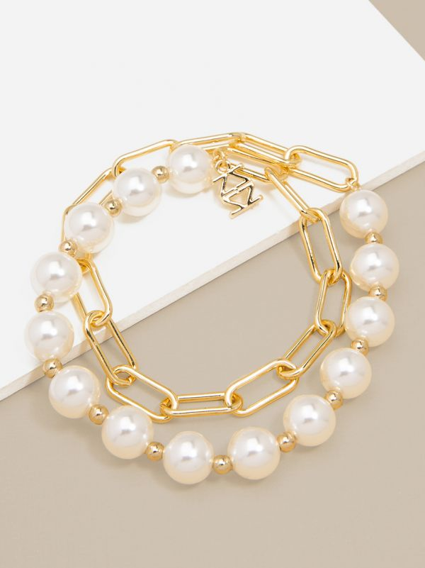 Pearl and Link Bracelet B1452