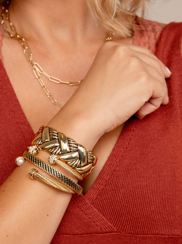 Crystal Twisted Cable Cuff B1463