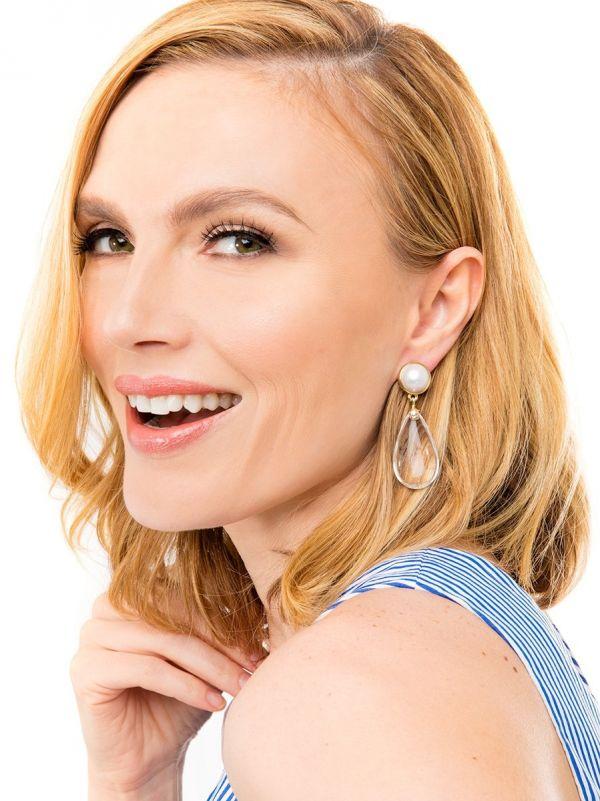Lucite and Pearl Drop Earring - Clear
