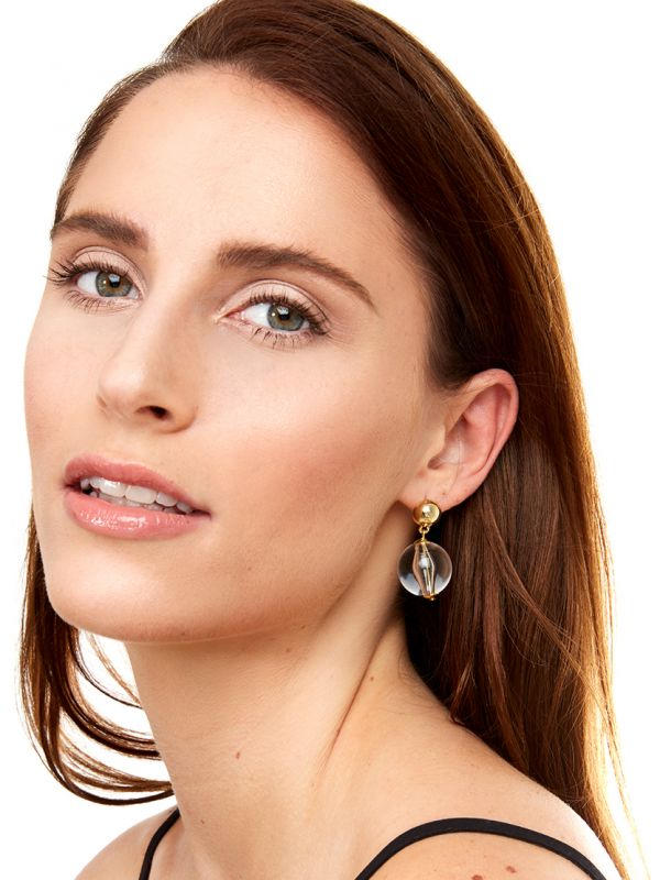Chunky Lucite Bead Drop Earring - Clear