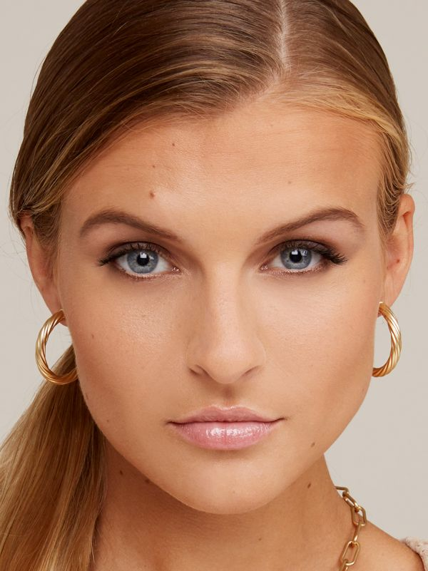 Swirled Satin Finish Hoop Earring