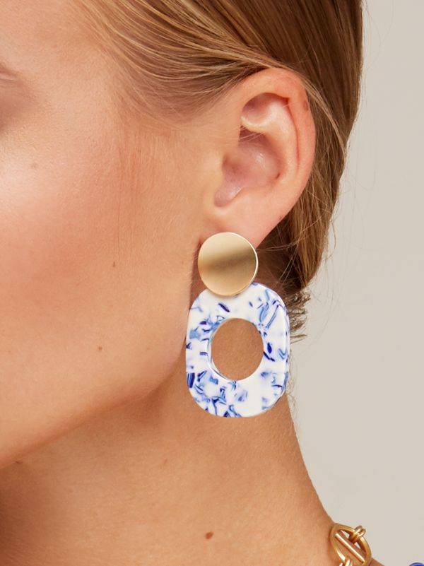 Porcelain Pattern Acetate Drop Earring