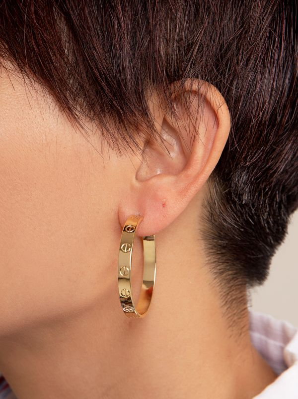 Small Bolted Hoop Earring E2419