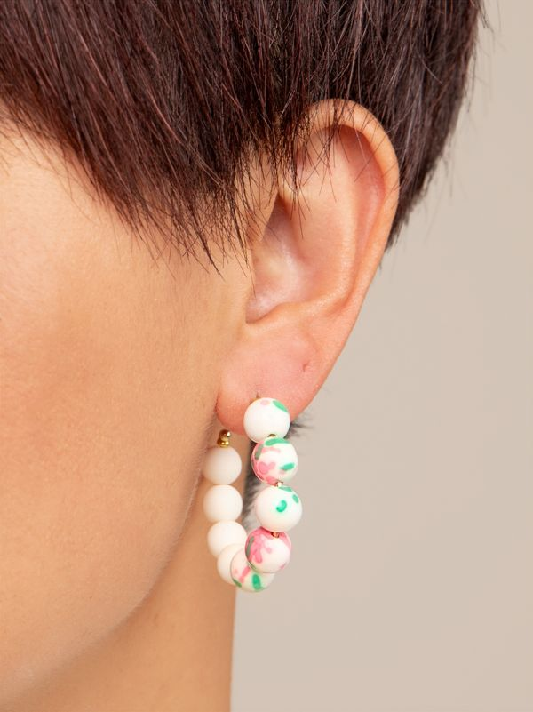 Small Mixed Beads Hoop Earring