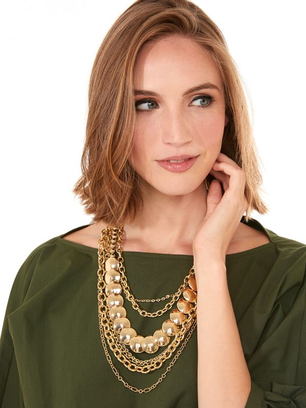 Top Tier Layered Necklace - Gold