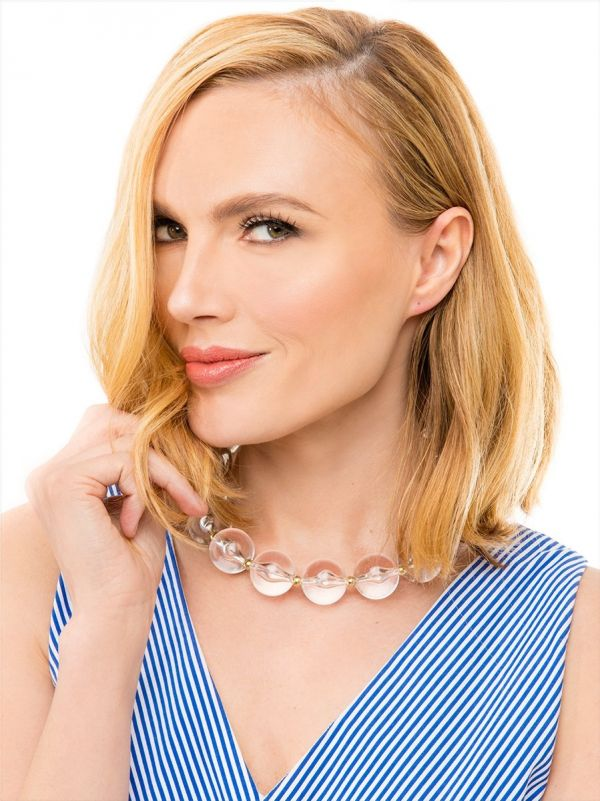 Chunky Beaded Lucite Collar Necklace - Clear