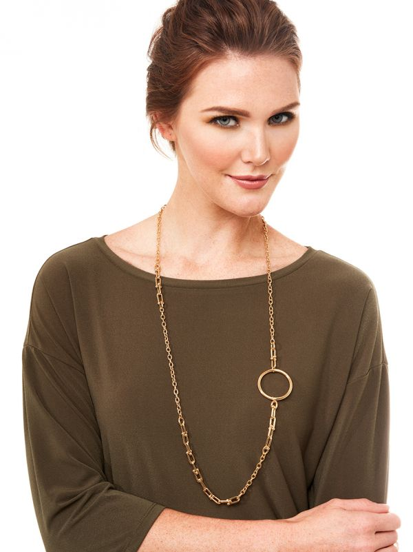 Long Asymmetrical One Hoop Necklace - Gold
