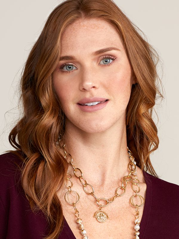 Oval Links and Pendant Collar Necklace - gld
