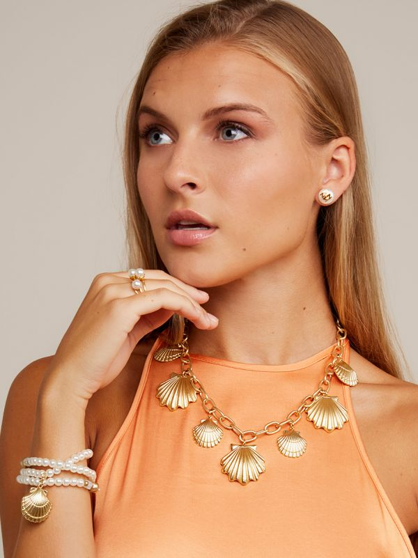 Seashell Charms Collar Necklace