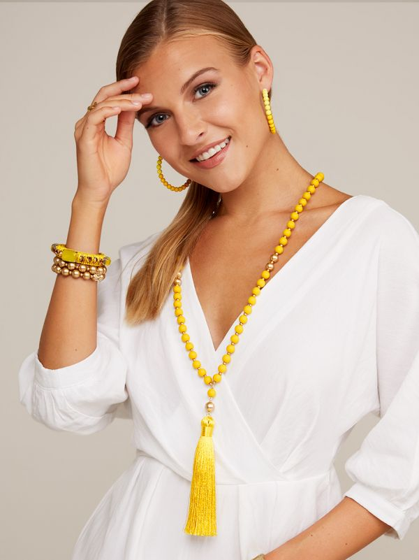 Matte Beaded Necklace with Tassel N2562