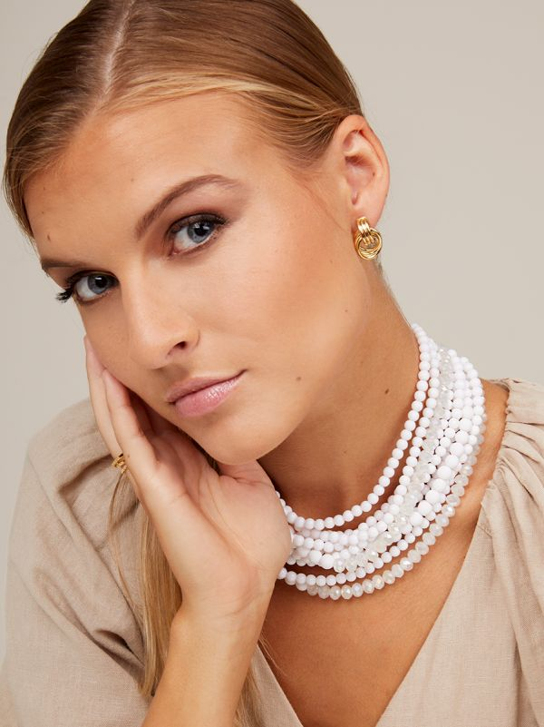 Matte and Crystal Beaded Collar Necklace