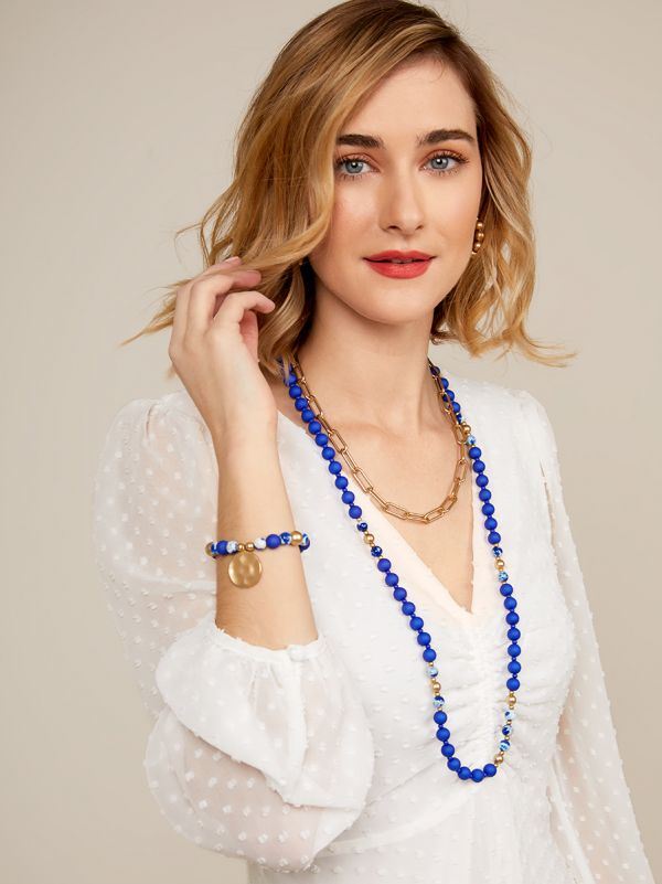 Resin Beaded Long Necklace N2628