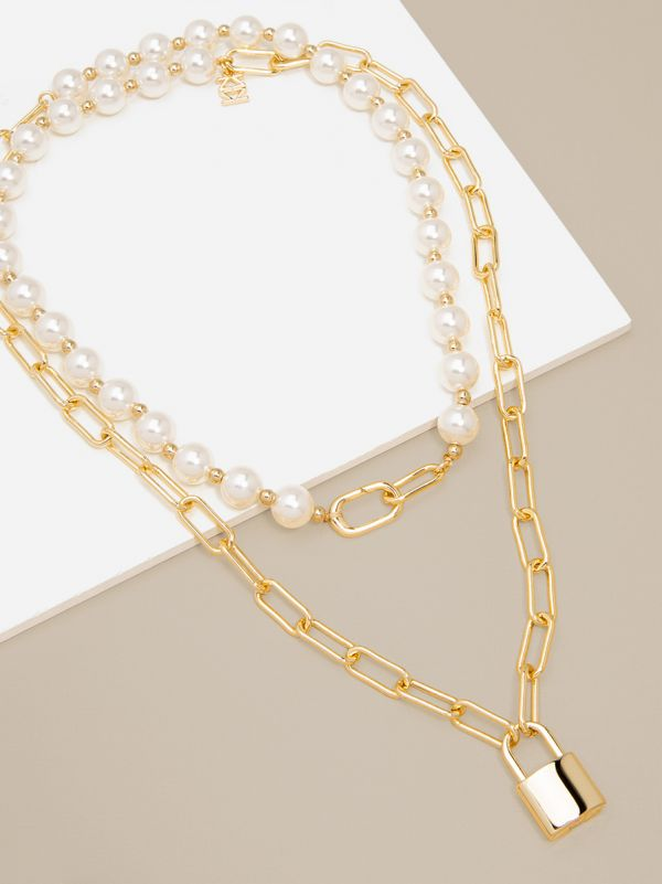 Pearl and Link Gold Lock Necklace TTTN2631