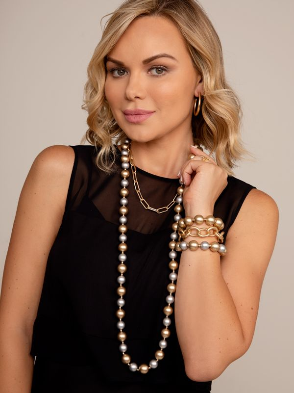 Resin Mixed Bead Long Necklace N2657